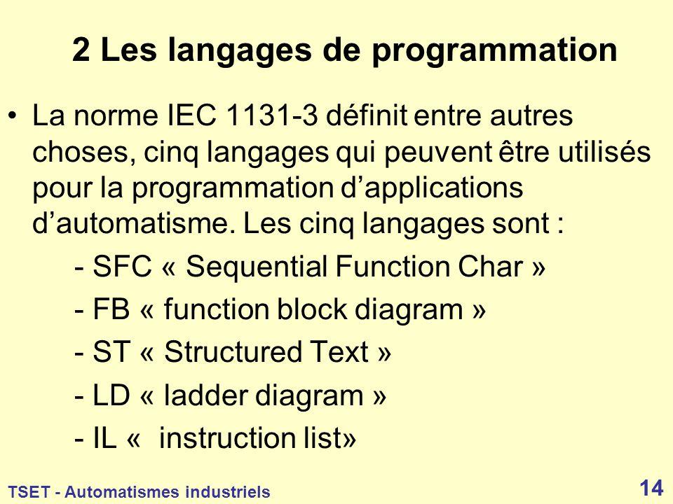 2 Les langages de programmation