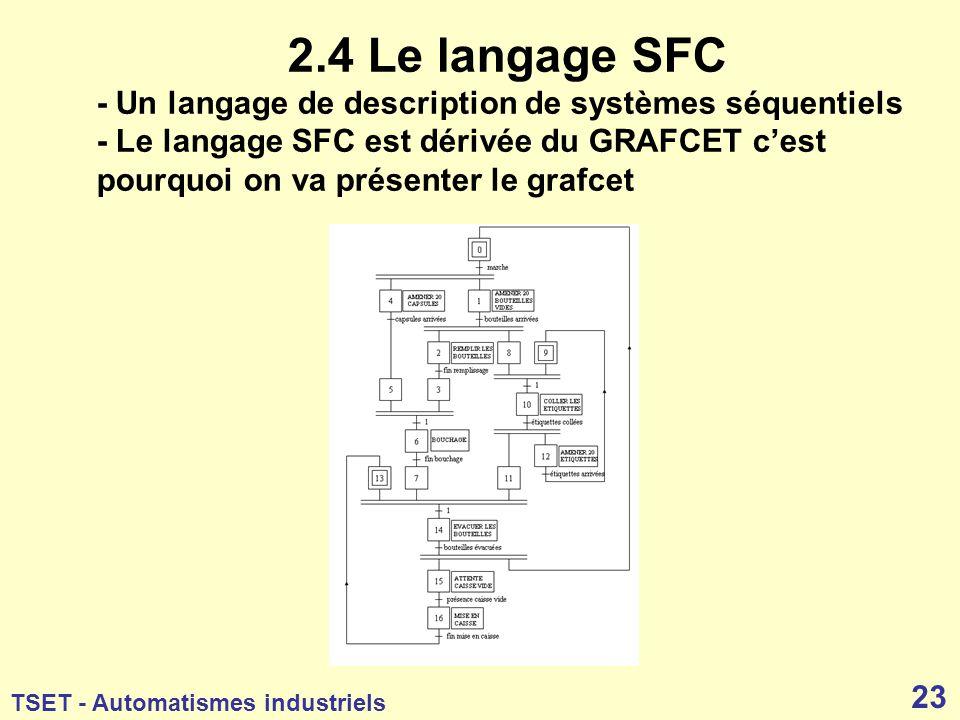 2.4 Le langage SFC - Un langage de description de systèmes séquentiels