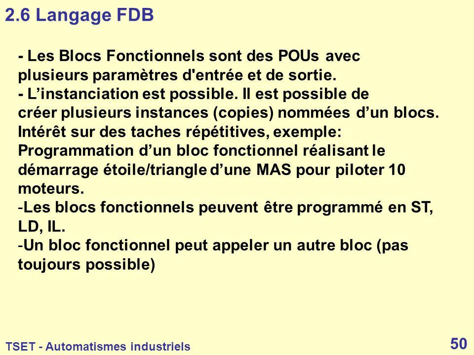 2.6 Langage FDB - Les Blocs Fonctionnels sont des POUs avec