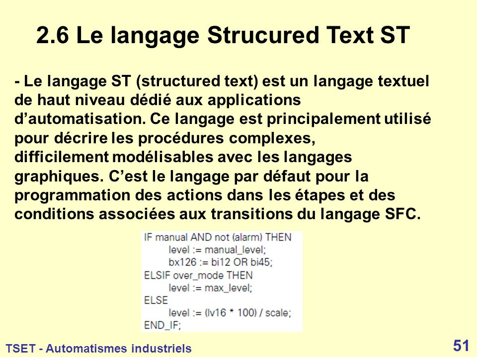 2.6 Le langage Strucured Text ST