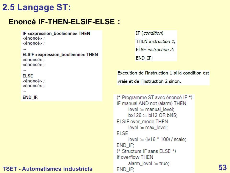 2.5 Langage ST: Enoncé IF-THEN-ELSIF-ELSE :