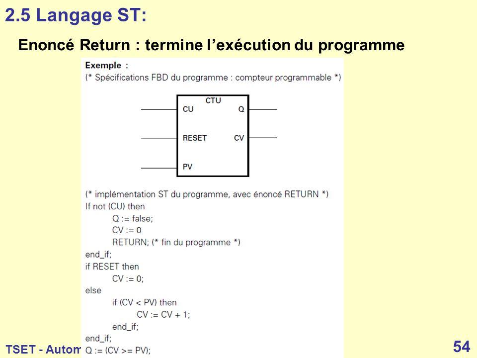 2.5 Langage ST: Enoncé Return : termine l'exécution du programme