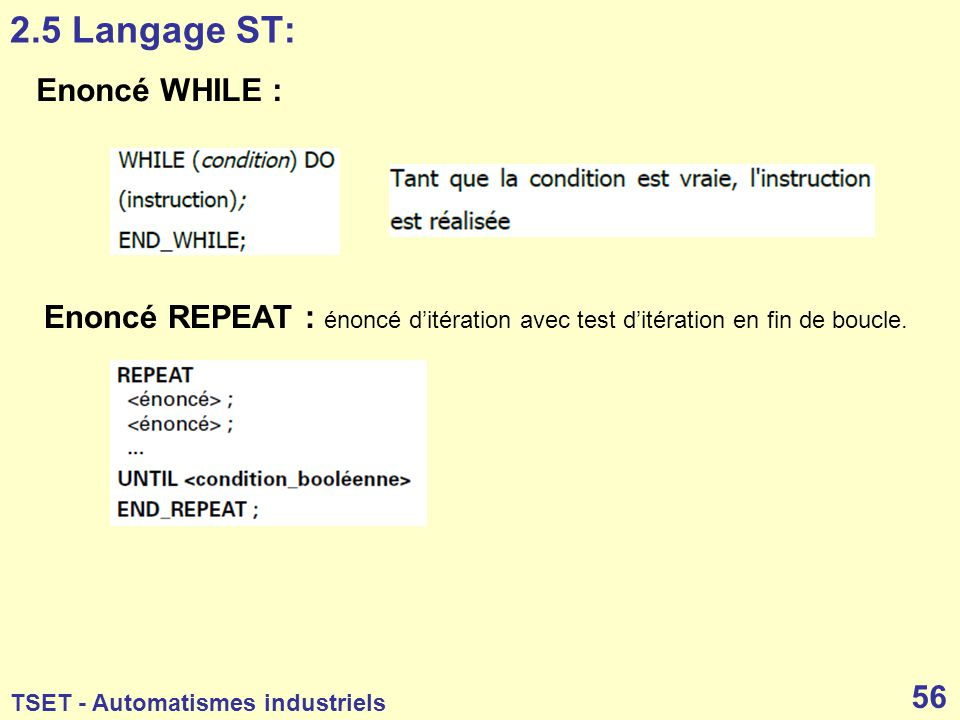 2.5 Langage ST: Enoncé WHILE :