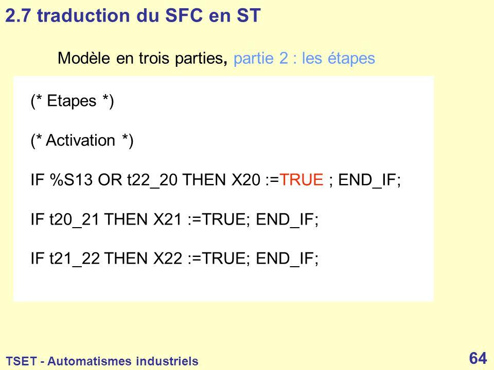 2.7 traduction du SFC en ST Modèle en trois parties, partie 2 : les étapes. (* Etapes *) (* Activation *)