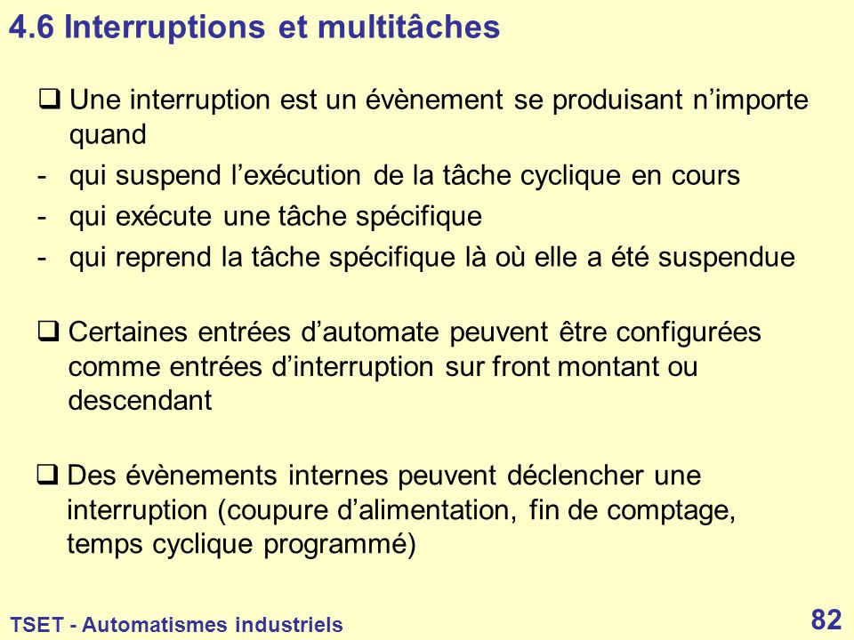 4.6 Interruptions et multitâches