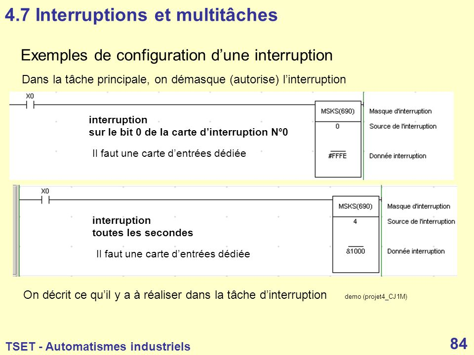 4.7 Interruptions et multitâches