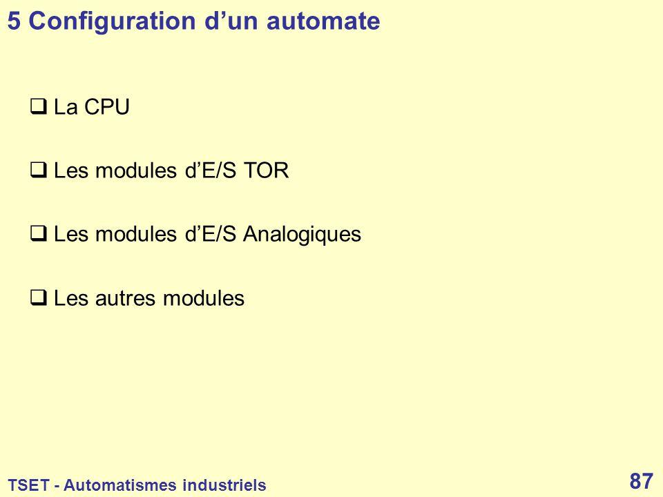 5 Configuration d'un automate