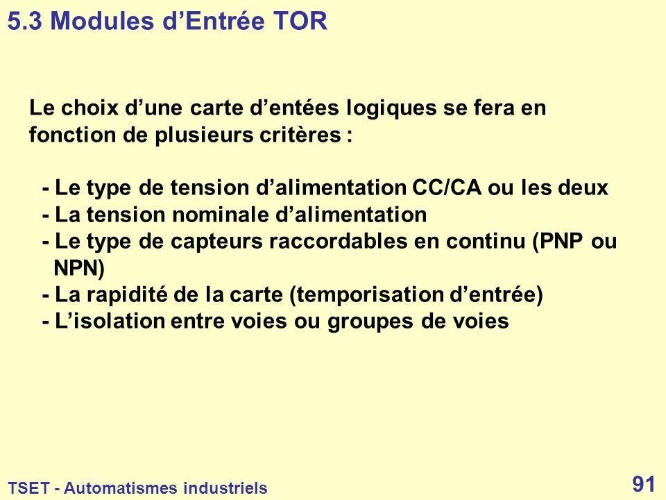 5.3 Modules d'Entrée TOR Le choix d'une carte d'entées logiques se fera en fonction de plusieurs critères :