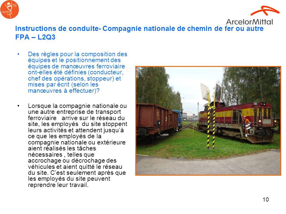 Instructions de conduite- Compagnie nationale de chemin de fer ou autre FPA – L2Q3