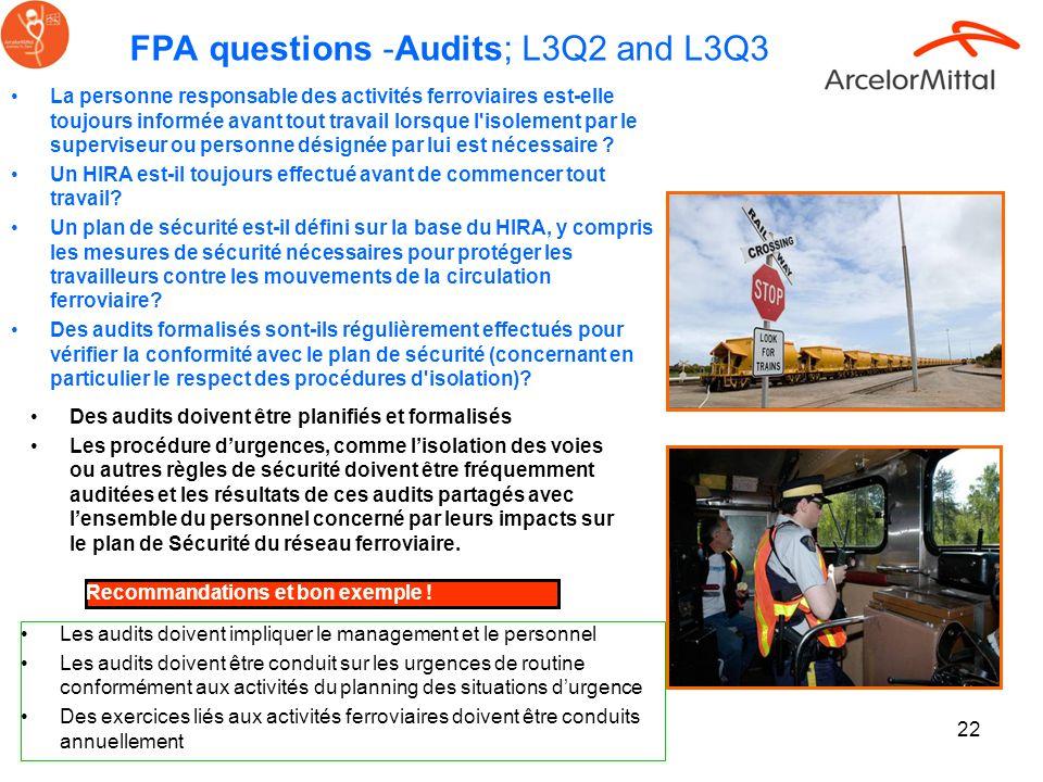 FPA questions -Audits; L3Q2 and L3Q3