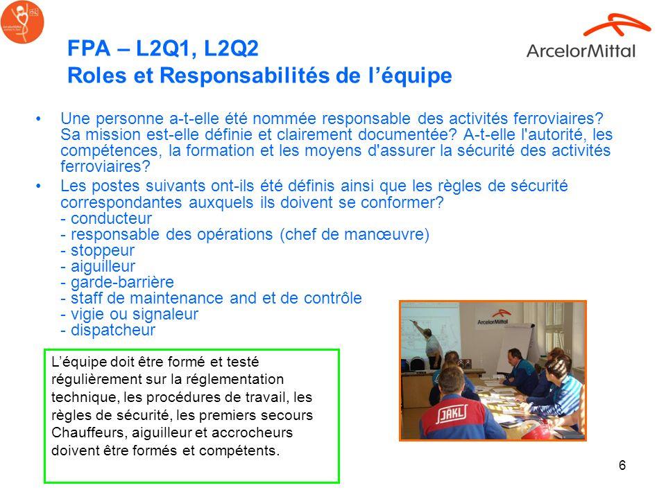 FPA – L2Q1, L2Q2 Roles et Responsabilités de l'équipe