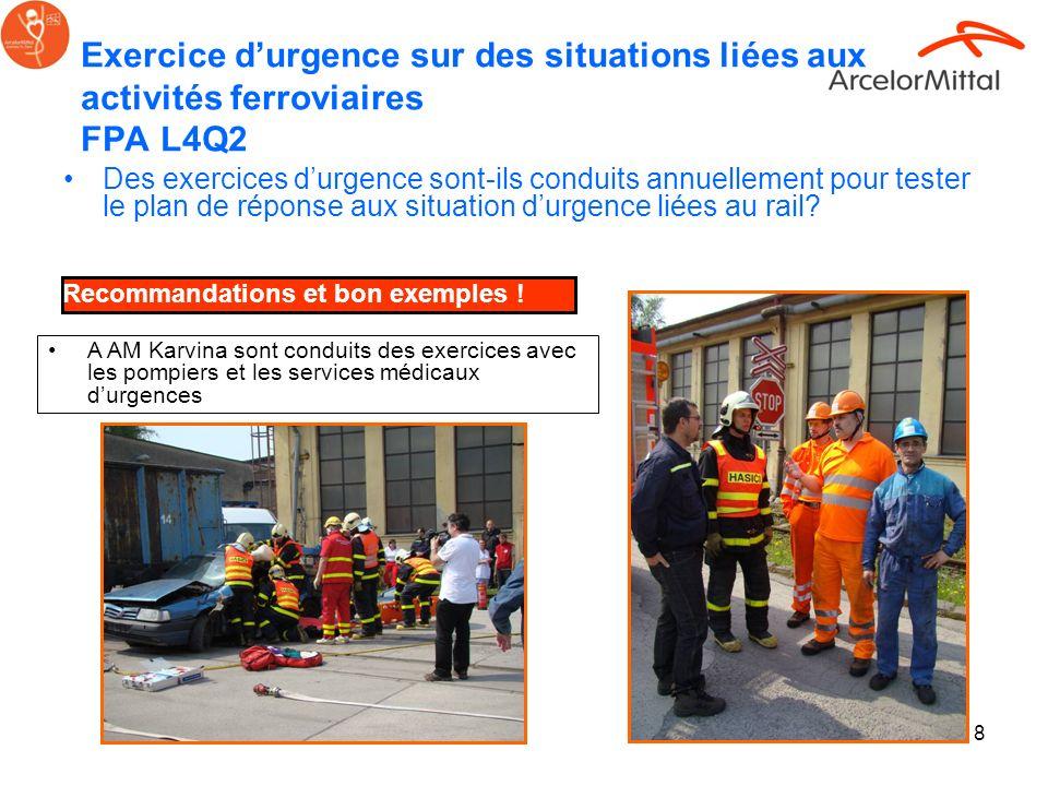 Exercice d'urgence sur des situations liées aux activités ferroviaires FPA L4Q2
