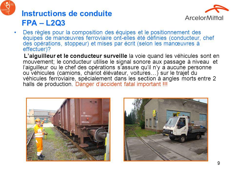 Instructions de conduite FPA – L2Q3