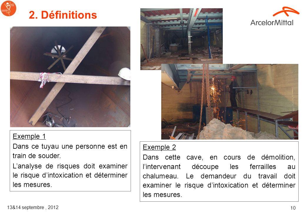 2. Définitions Exemple 1. Dans ce tuyau une personne est en train de souder.