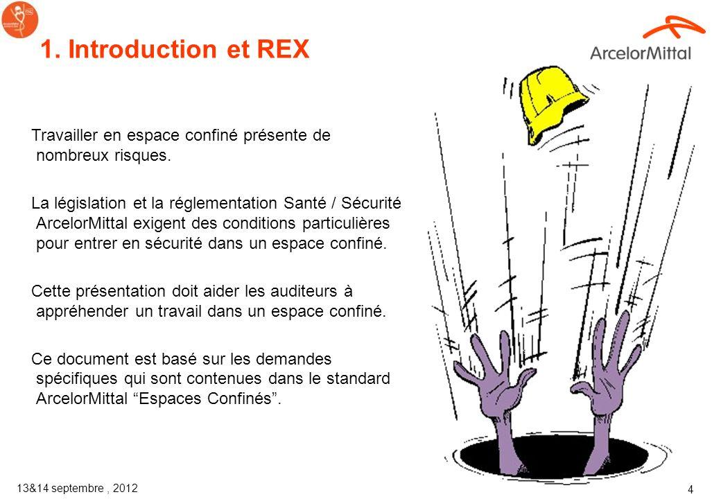 1. Introduction et REX Travailler en espace confiné présente de nombreux risques.