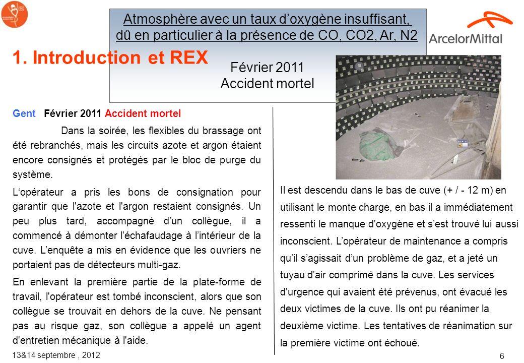 1. Introduction et REX Atmosphère avec un taux d'oxygène insuffisant,