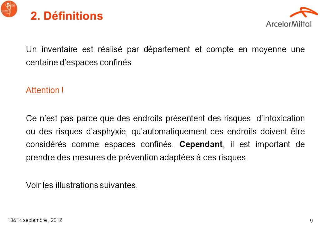 2. Définitions Un inventaire est réalisé par département et compte en moyenne une centaine d'espaces confinés.