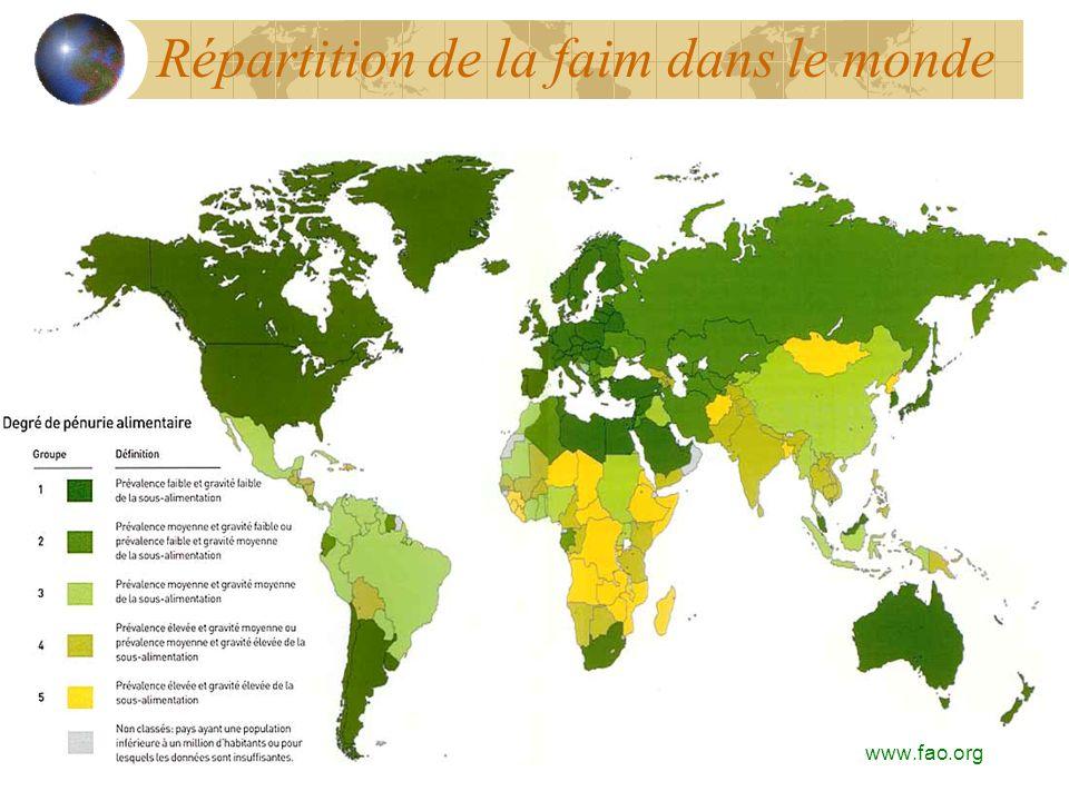 Répartition de la faim dans le monde