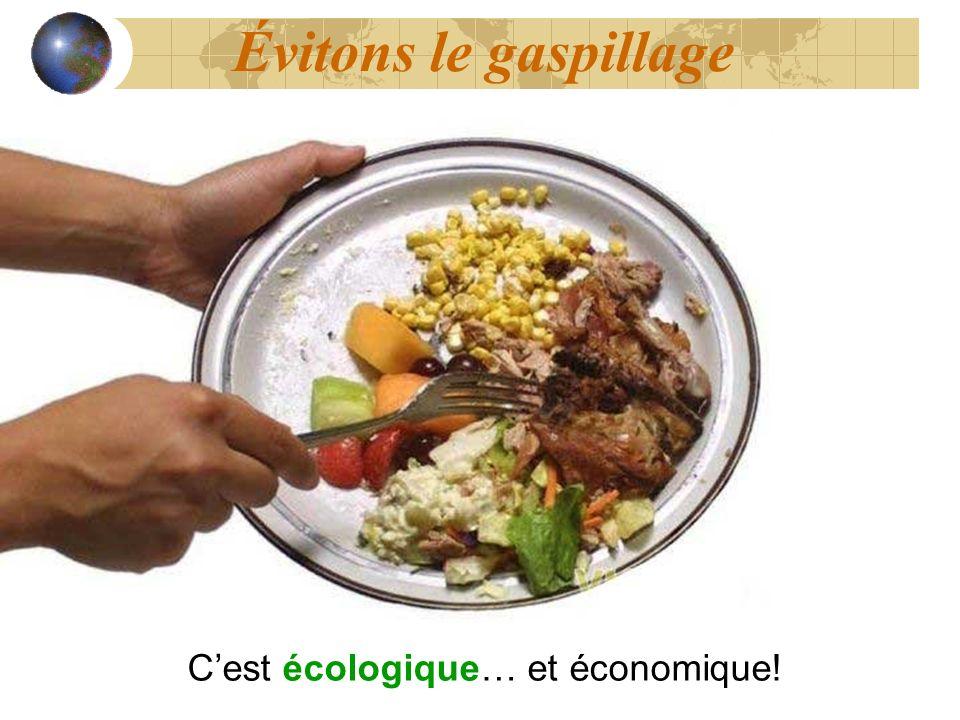 Évitons le gaspillage C'est écologique… et économique!