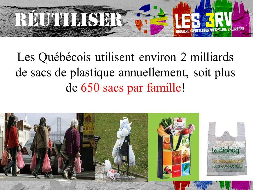 RÉUTILISER Les Québécois utilisent environ 2 milliards de sacs de plastique annuellement, soit plus de 650 sacs par famille!