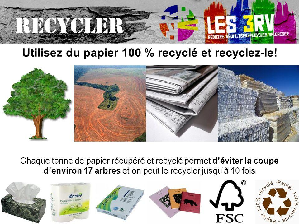 Utilisez du papier 100 % recyclé et recyclez-le!