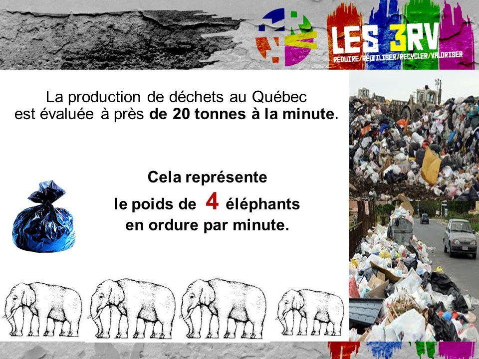La production de déchets au Québec est évaluée à près de 20 tonnes à la minute.