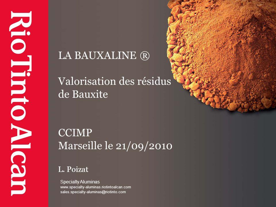 LA BAUXALINE ® Valorisation des résidus de Bauxite CCIMP Marseille le 21/09/2010 L. Poizat