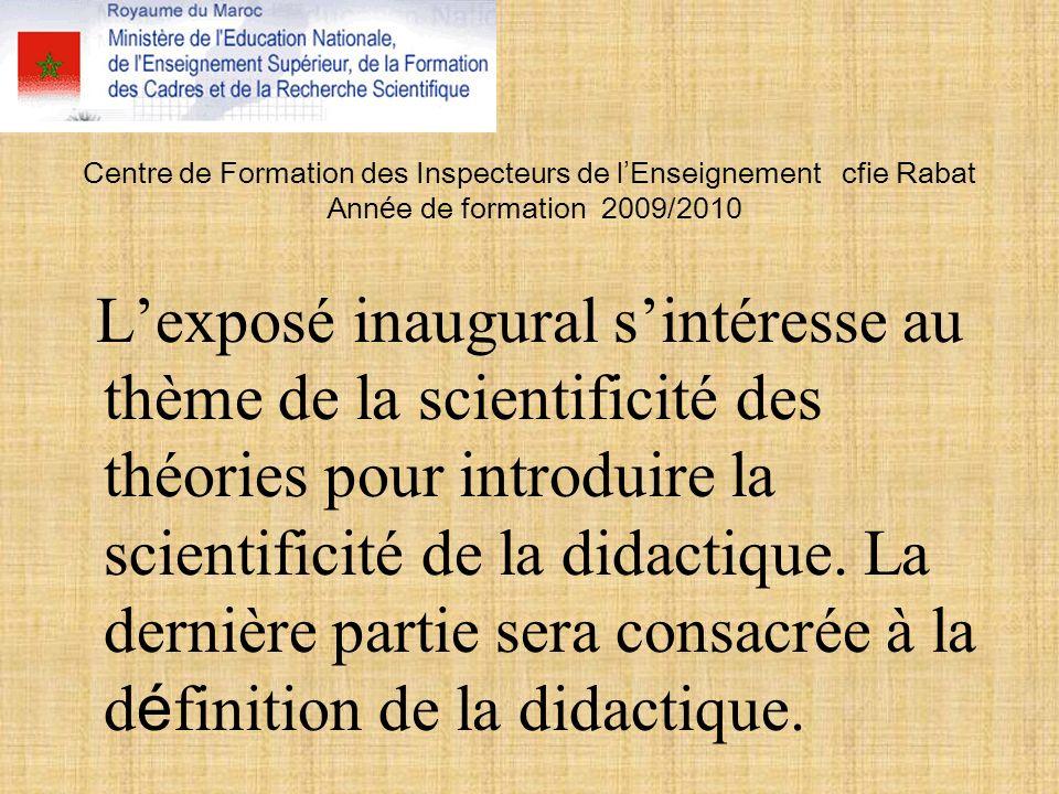 Centre de Formation des Inspecteurs de l'Enseignement cfie Rabat Année de formation 2009/2010