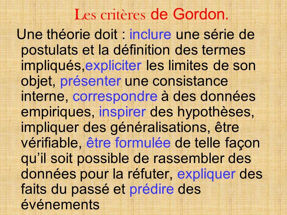 Les critères de Gordon.