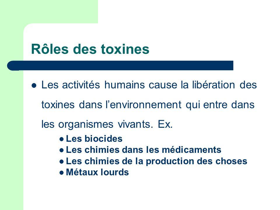 Rôles des toxines Les activités humains cause la libération des toxines dans l'environnement qui entre dans les organismes vivants. Ex.