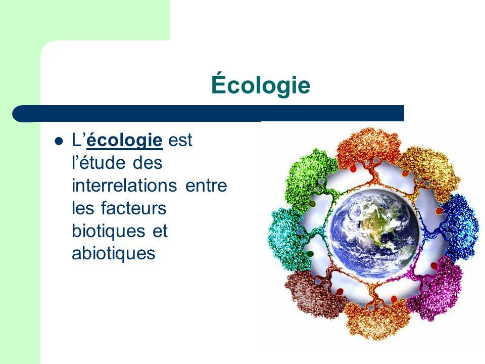 Écologie L'écologie est l'étude des interrelations entre les facteurs biotiques et abiotiques