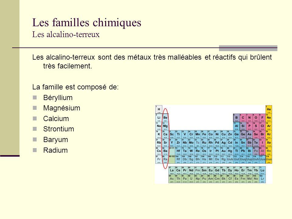 Les familles chimiques Les alcalino-terreux