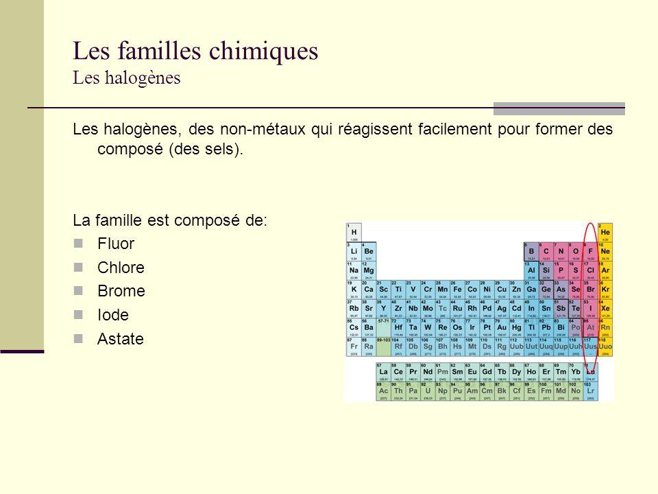 Les familles chimiques Les halogènes