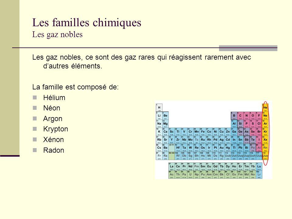 Les familles chimiques Les gaz nobles