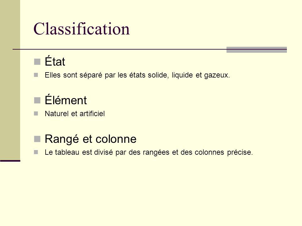 Classification État Élément Rangé et colonne