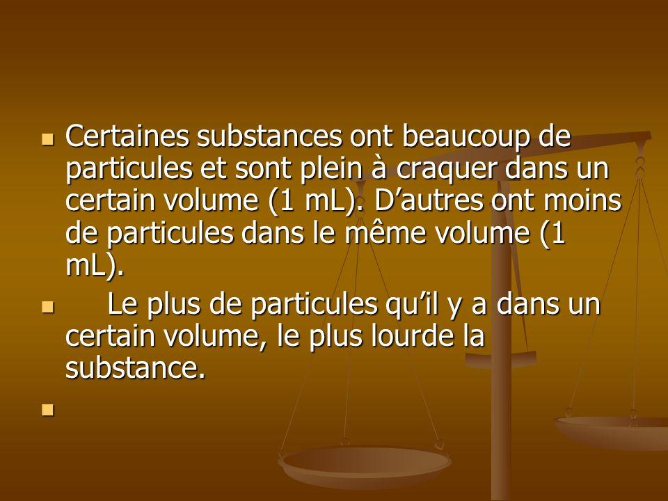 Certaines substances ont beaucoup de particules et sont plein à craquer dans un certain volume (1 mL). D'autres ont moins de particules dans le même volume (1 mL).