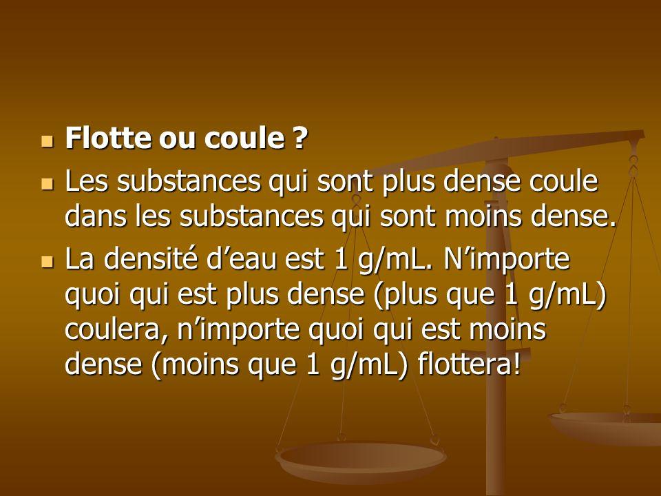 Flotte ou coule Les substances qui sont plus dense coule dans les substances qui sont moins dense.