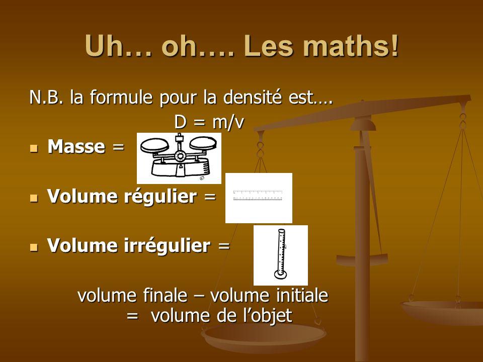 Uh… oh…. Les maths! N.B. la formule pour la densité est…. D = m/v
