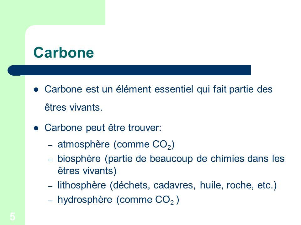 Carbone Carbone est un élément essentiel qui fait partie des êtres vivants. Carbone peut être trouver: