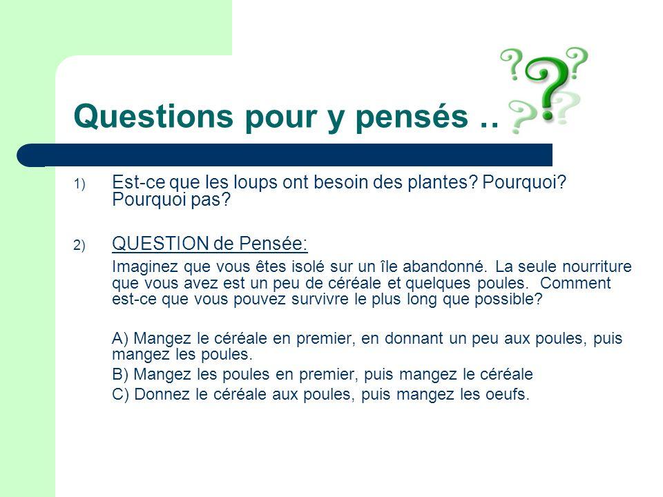 Questions pour y pensés …