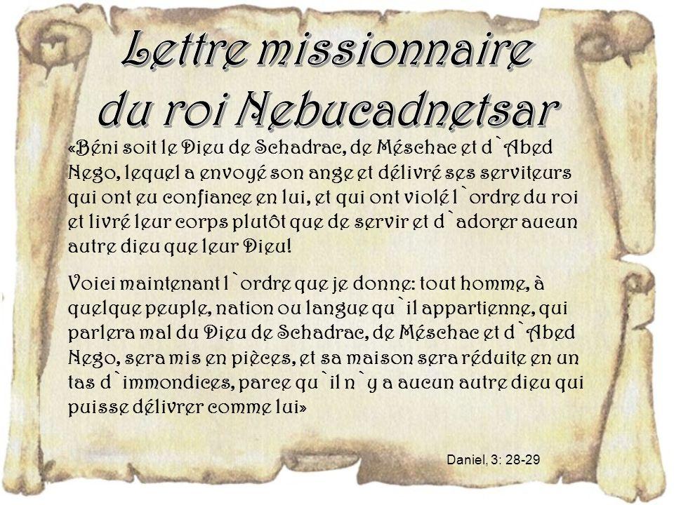 Lettre missionnaire du roi Nebucadnetsar