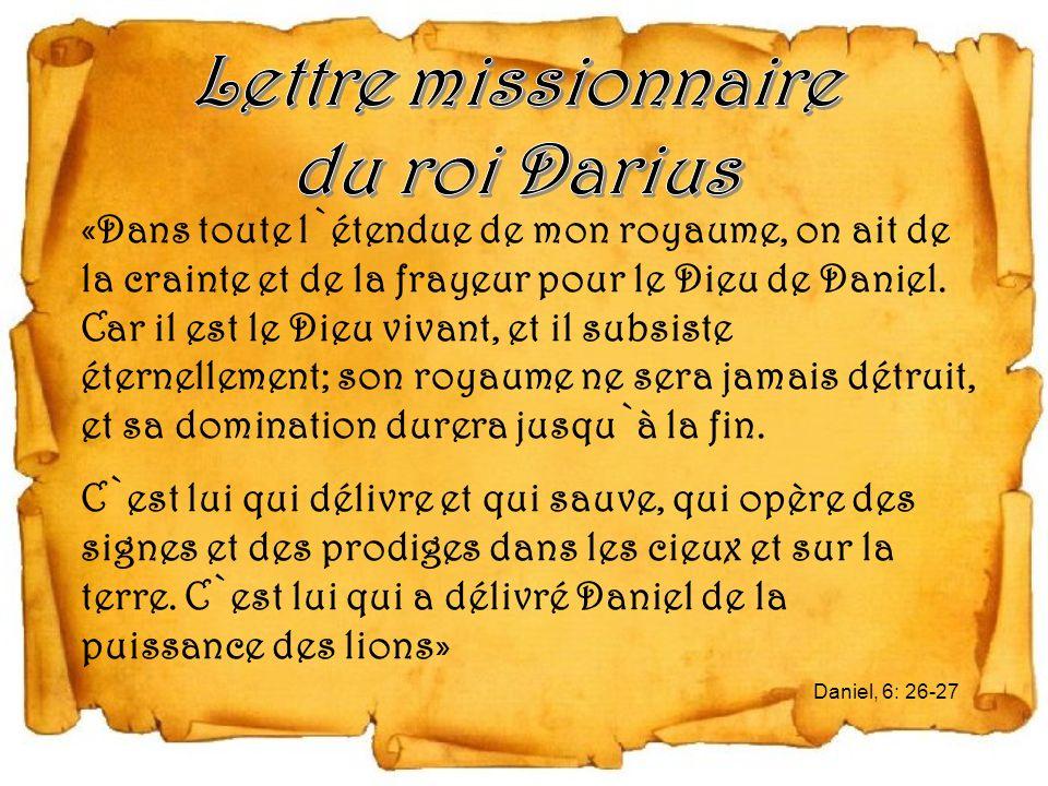 Lettre missionnaire du roi Darius