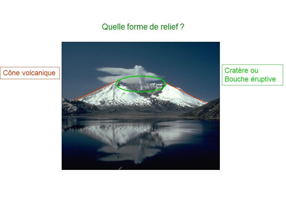 Quelle forme de relief Cratère ou Bouche éruptive Cône volcanique