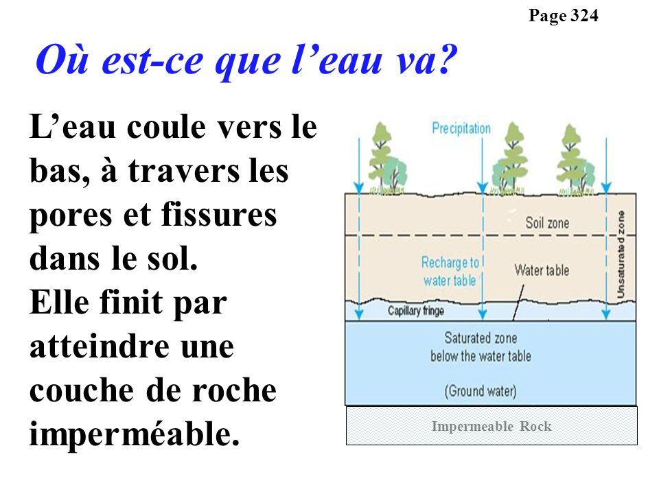 Page 324 Où est-ce que l'eau va L'eau coule vers le bas, à travers les pores et fissures dans le sol.