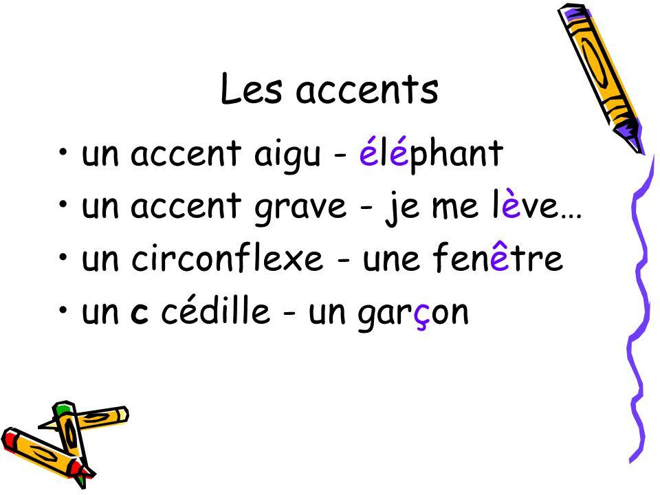 Les accents un accent aigu - éléphant un accent grave - je me lève…