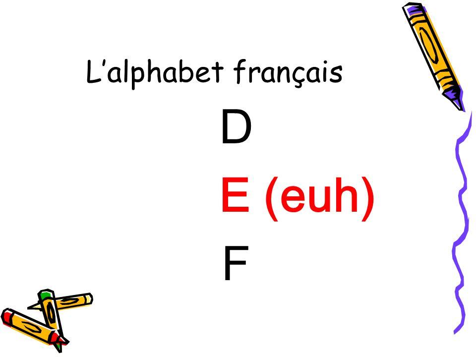 L'alphabet français D E (euh) F