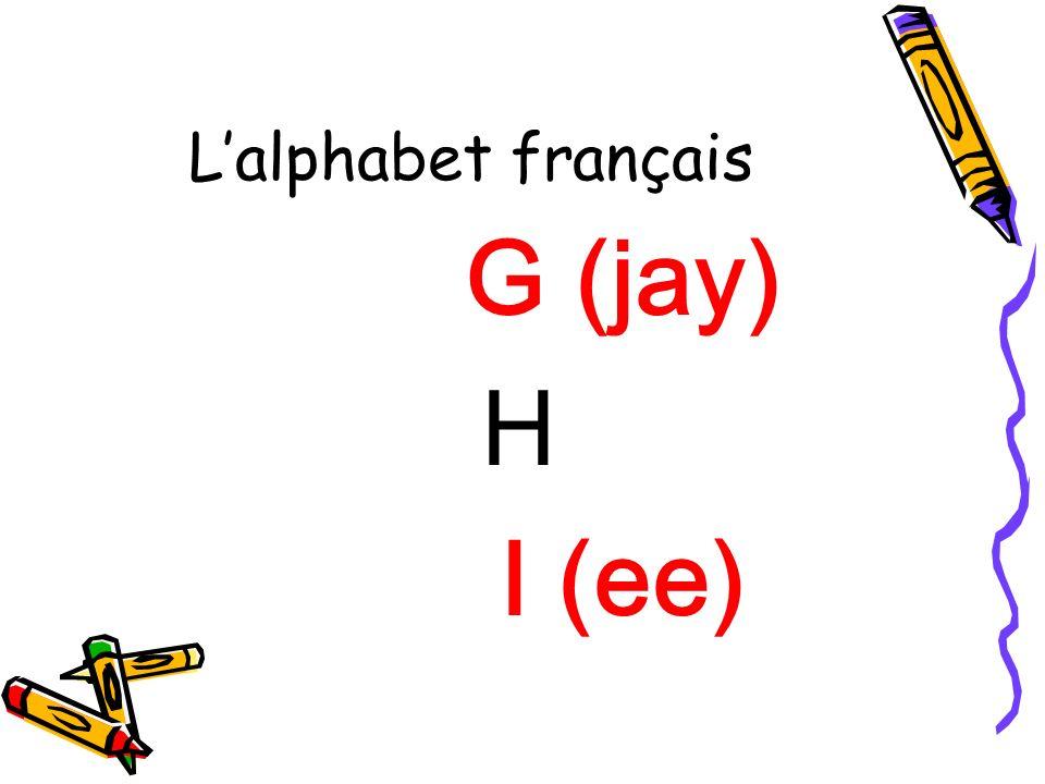 L'alphabet français G (jay) H I (ee)