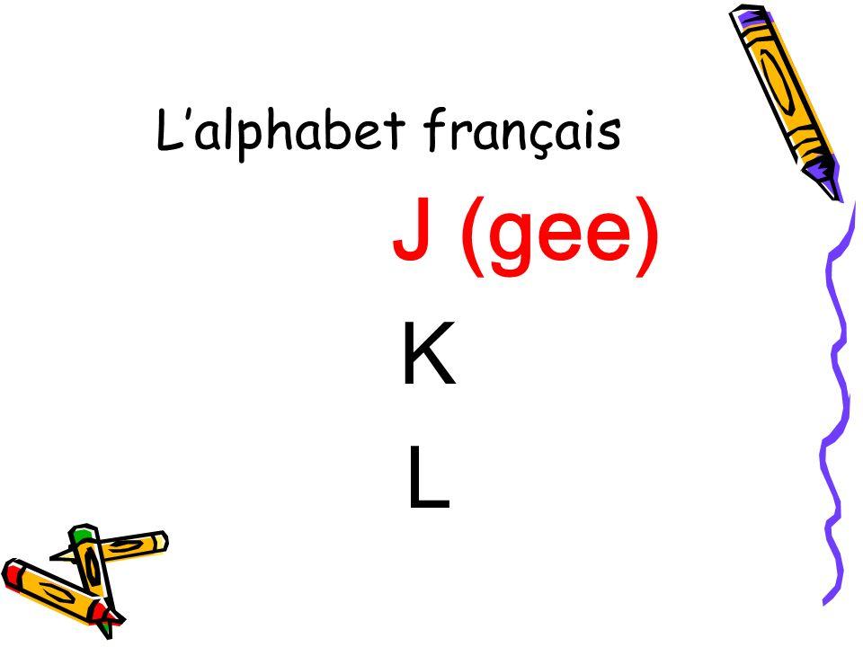 L'alphabet français J (gee) K L