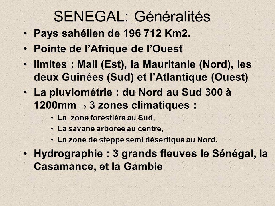 SENEGAL: Généralités Pays sahélien de 196 712 Km2.