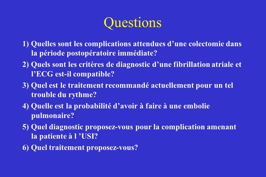 Questions 1) Quelles sont les complications attendues d'une colectomie dans la période postopératoire immédiate